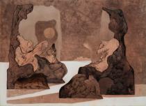 Bruno Gorlato - I custodi del tempo, china e mordenti su carta, 1975