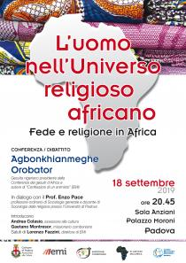 Locandina Conferenza Dibattito L'uomo nell'Universo religioso africano Fede e religione in Africa