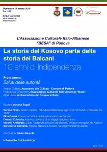 La storia del Kosovo parte della storia dei Balcani. 10 anni di Indipendenza -Programma Convegno