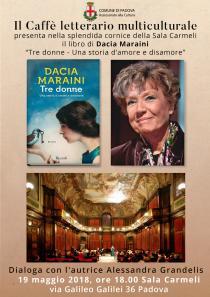 Locandina presentazione libro Tre donne di Dacia Maraini