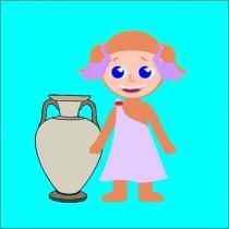 disegno con bambina e anfora