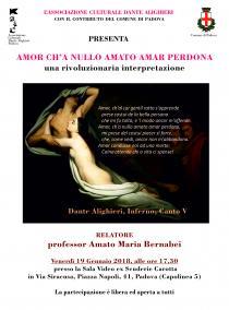 """Volantino conferenza  """"Amor ch'a nullo amato amar perdona: una rivoluzionaria esegesi"""""""