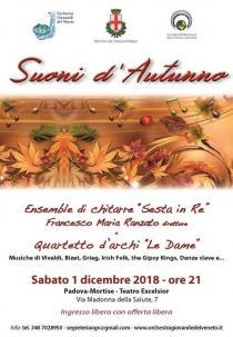 Suoni d'autunno 2018. Ensemble di chitarre Sesta in Re e quartetto d'archi Le Dame