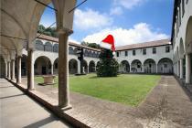 la magnolia del Chiostro Maggiore col cappello di Babbo Natale