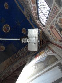 ponteggio aereo in Cappella degli Scrovegni